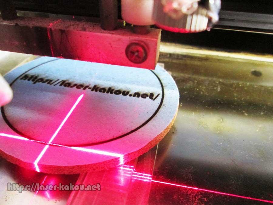 コルクコースター レーザー彫刻 レーザー加工機3